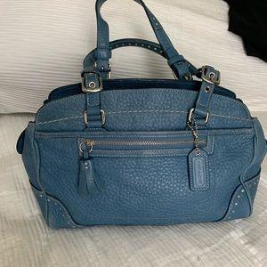 Authentic Coach blue purse pebble leather